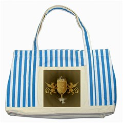 Music, Clef On A Shield With Liions And Water Splash Striped Blue Tote Bag  by FantasyWorld7