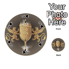Music, Clef On A Shield With Liions And Water Splash Playing Cards 54 (round)  by FantasyWorld7