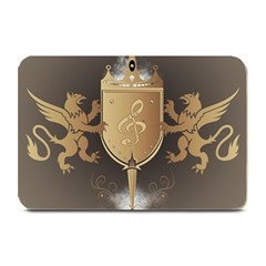 Music, Clef On A Shield With Liions And Water Splash Plate Mats by FantasyWorld7