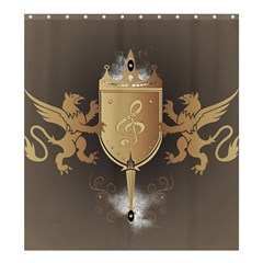 Music, Clef On A Shield With Liions And Water Splash Shower Curtain 66  X 72  (large)  by FantasyWorld7