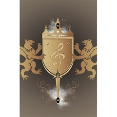 Music, Clef On A Shield With Liions And Water Splash 5 5  X 8 5  Notebooks by FantasyWorld7