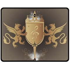Music, Clef On A Shield With Liions And Water Splash Fleece Blanket (medium)