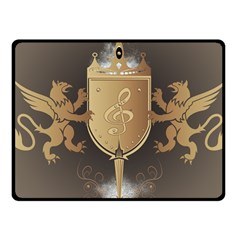 Music, Clef On A Shield With Liions And Water Splash Fleece Blanket (small) by FantasyWorld7