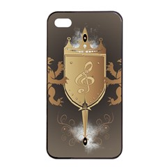 Music, Clef On A Shield With Liions And Water Splash Apple Iphone 4/4s Seamless Case (black) by FantasyWorld7