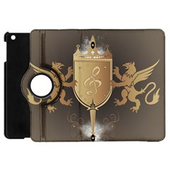 Music, Clef On A Shield With Liions And Water Splash Apple Ipad Mini Flip 360 Case by FantasyWorld7