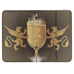 Music, Clef On A Shield With Liions And Water Splash Samsung Galaxy Tab 7  P1000 Flip Case by FantasyWorld7