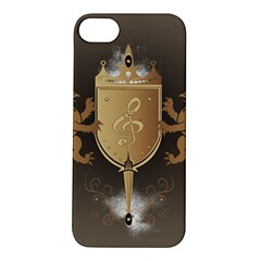 Music, Clef On A Shield With Liions And Water Splash Apple Iphone 5s Hardshell Case by FantasyWorld7