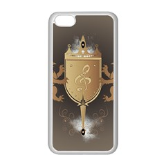 Music, Clef On A Shield With Liions And Water Splash Apple Iphone 5c Seamless Case (white) by FantasyWorld7