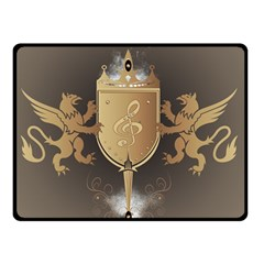 Music, Clef On A Shield With Liions And Water Splash Double Sided Fleece Blanket (small)  by FantasyWorld7