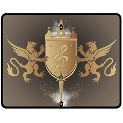 Music, Clef On A Shield With Liions And Water Splash Double Sided Fleece Blanket (medium)  by FantasyWorld7