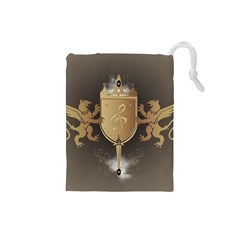 Music, Clef On A Shield With Liions And Water Splash Drawstring Pouches (small)  by FantasyWorld7