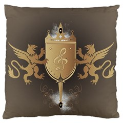 Music, Clef On A Shield With Liions And Water Splash Standard Flano Cushion Cases (one Side)  by FantasyWorld7