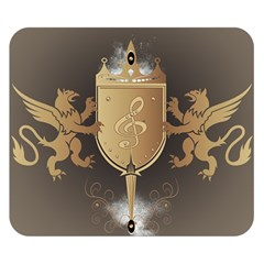 Music, Clef On A Shield With Liions And Water Splash Double Sided Flano Blanket (small)  by FantasyWorld7
