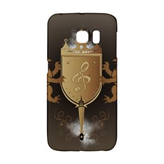 Music, Clef On A Shield With Liions And Water Splash Galaxy S6 Edge by FantasyWorld7