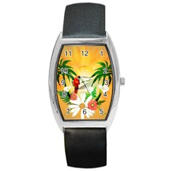 Cute Parrot With Flowers And Palm Barrel Metal Watches by FantasyWorld7