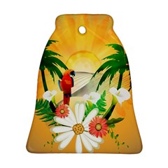 Cute Parrot With Flowers And Palm Bell Ornament (2 Sides) by FantasyWorld7