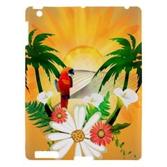 Cute Parrot With Flowers And Palm Apple Ipad 3/4 Hardshell Case by FantasyWorld7