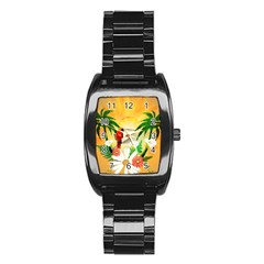 Cute Parrot With Flowers And Palm Stainless Steel Barrel Watch by FantasyWorld7