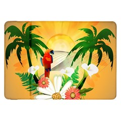 Cute Parrot With Flowers And Palm Samsung Galaxy Tab 8.9  P7300 Flip Case