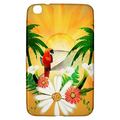 Cute Parrot With Flowers And Palm Samsung Galaxy Tab 3 (8 ) T3100 Hardshell Case  by FantasyWorld7