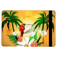 Cute Parrot With Flowers And Palm iPad Air Flip by FantasyWorld7