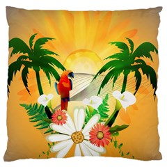 Cute Parrot With Flowers And Palm Large Flano Cushion Cases (two Sides)  by FantasyWorld7