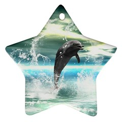 Funny Dolphin Jumping By A Heart Made Of Water Ornament (star)