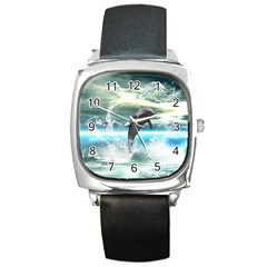 Funny Dolphin Jumping By A Heart Made Of Water Square Metal Watches by FantasyWorld7