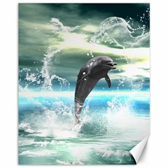 Funny Dolphin Jumping By A Heart Made Of Water Canvas 11  x 14   by FantasyWorld7