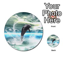 Funny Dolphin Jumping By A Heart Made Of Water Multi Purpose Cards (round)  by FantasyWorld7