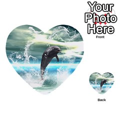 Funny Dolphin Jumping By A Heart Made Of Water Multi Purpose Cards (heart)  by FantasyWorld7