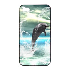 Funny Dolphin Jumping By A Heart Made Of Water Apple Iphone 4/4s Seamless Case (black) by FantasyWorld7