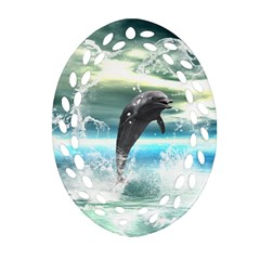 Funny Dolphin Jumping By A Heart Made Of Water Ornament (oval Filigree)  by FantasyWorld7