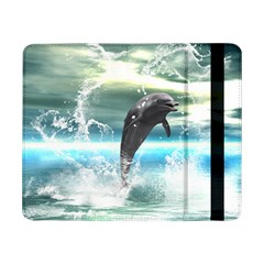 Funny Dolphin Jumping By A Heart Made Of Water Samsung Galaxy Tab Pro 8.4  Flip Case by FantasyWorld7