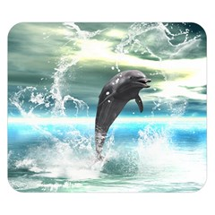 Funny Dolphin Jumping By A Heart Made Of Water Double Sided Flano Blanket (small)  by FantasyWorld7