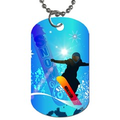 Snowboarding Dog Tag (one Side) by FantasyWorld7