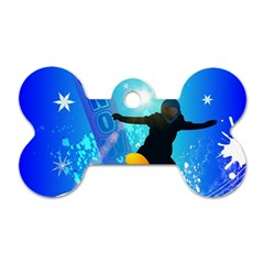 Snowboarding Dog Tag Bone (two Sides) by FantasyWorld7