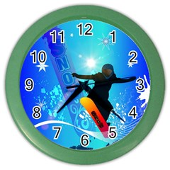 Snowboarding Color Wall Clocks by FantasyWorld7