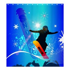 Snowboarding Shower Curtain 66  X 72  (large)  by FantasyWorld7