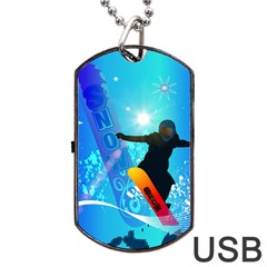 Snowboarding Dog Tag Usb Flash (two Sides)  by FantasyWorld7