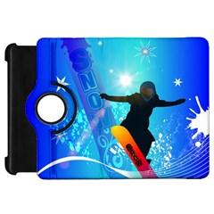Snowboarding Kindle Fire Hd Flip 360 Case by FantasyWorld7