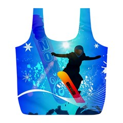 Snowboarding Full Print Recycle Bags (l)  by FantasyWorld7