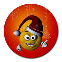 Cute Funny Christmas Smiley With Christmas Tree Round Mousepads by FantasyWorld7