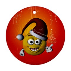 Cute Funny Christmas Smiley With Christmas Tree Ornament (round)