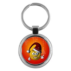 Cute Funny Christmas Smiley With Christmas Tree Key Chains (round)  by FantasyWorld7