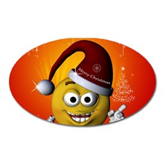 Cute Funny Christmas Smiley With Christmas Tree Oval Magnet by FantasyWorld7