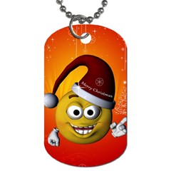 Cute Funny Christmas Smiley With Christmas Tree Dog Tag (One Side) by FantasyWorld7