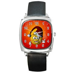 Cute Funny Christmas Smiley With Christmas Tree Square Metal Watches by FantasyWorld7