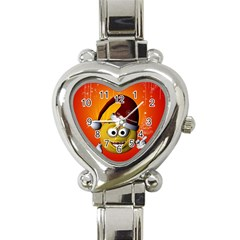 Cute Funny Christmas Smiley With Christmas Tree Heart Italian Charm Watch by FantasyWorld7