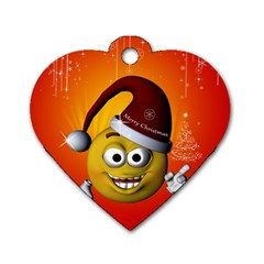 Cute Funny Christmas Smiley With Christmas Tree Dog Tag Heart (two Sides) by FantasyWorld7